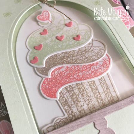 Hello Cupcake Window Card, All My Love DSP Saleabration 2019 by Kate Morgan Stampin Up Australia close up