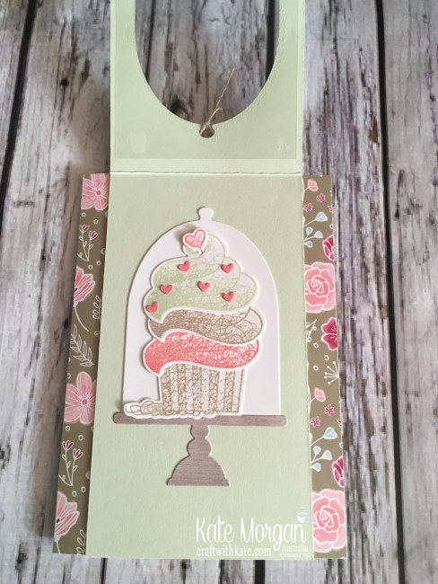 Hello Cupcake Window Card, All My Love DSP Saleabration 2019 by Kate Morgan Stampin Up Australia open