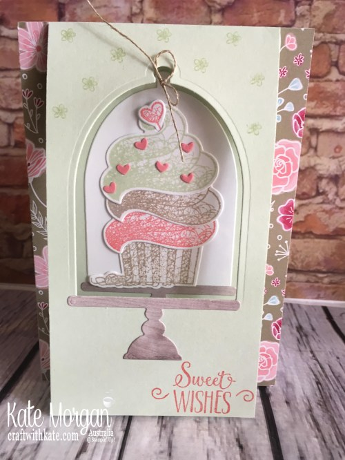 Hello Cupcake Window Card, All My Love DSP Saleabration 2019 by Kate Morgan Stampin Up Australia standing