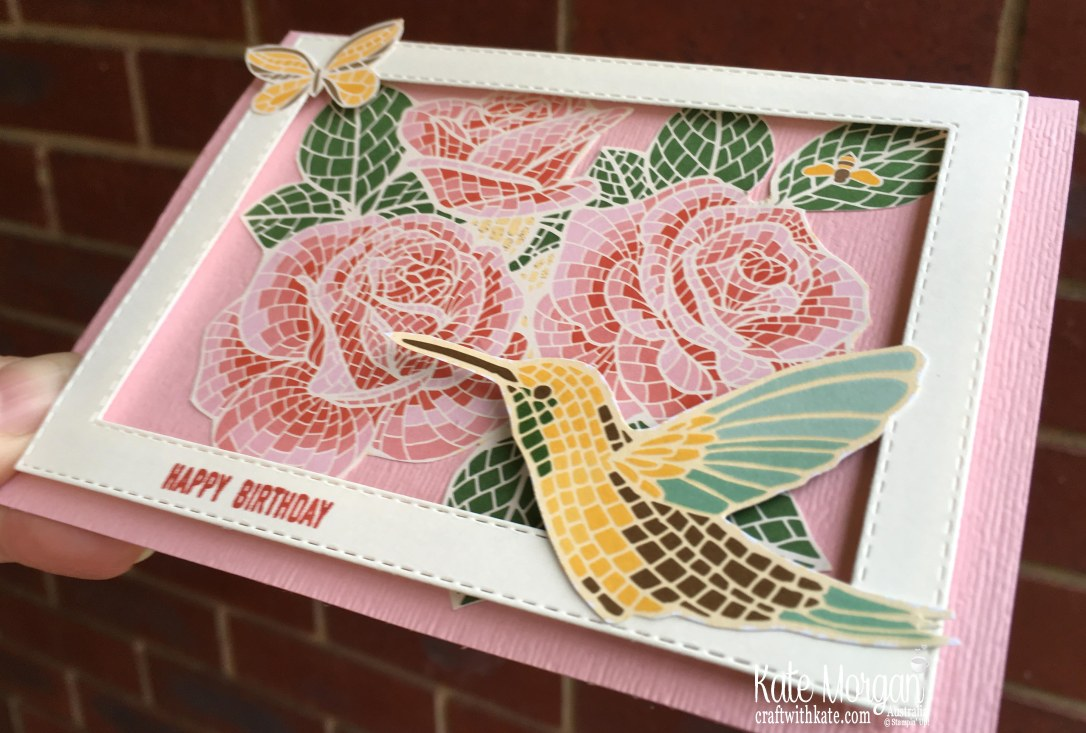 Mosaic Mood & Woven Heirlooms Birthday card, Stampin Up Australia by Kate Morgan.