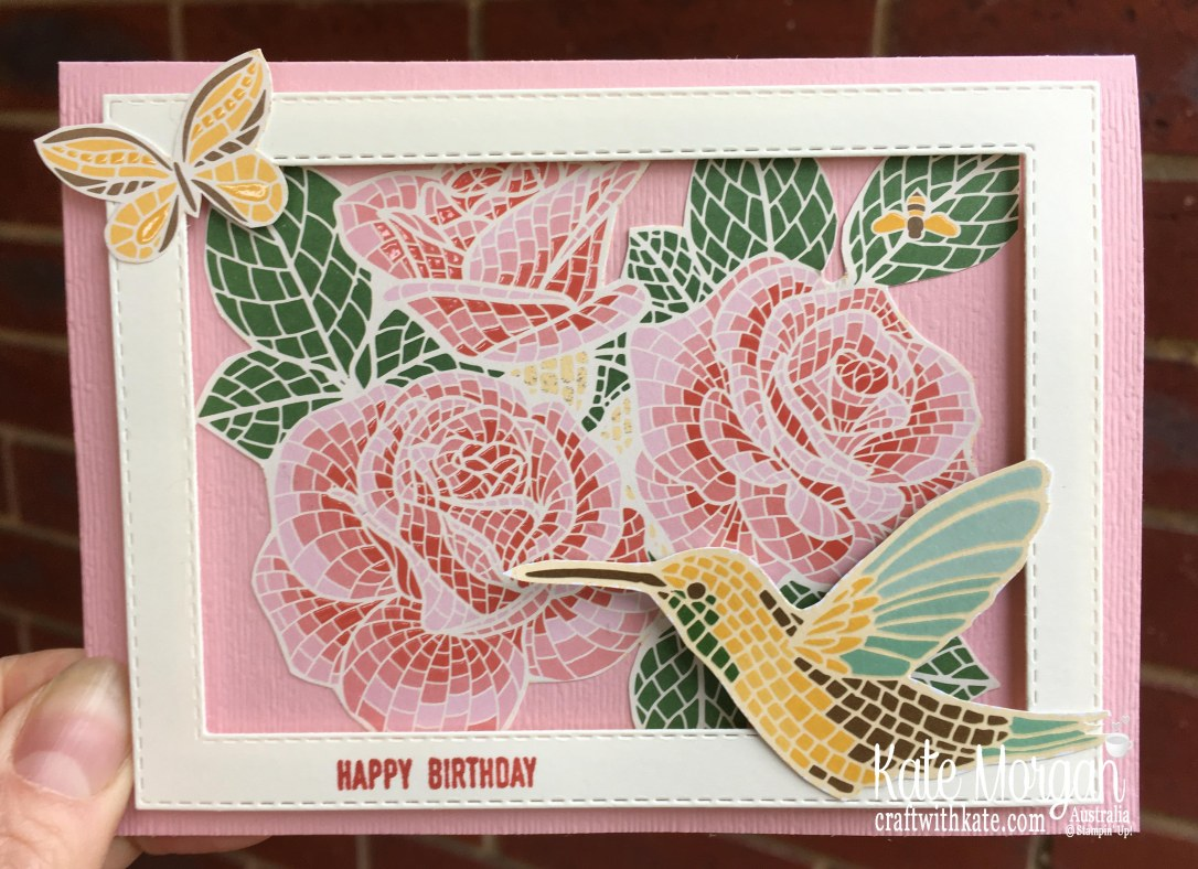 Mosaic Mood & Woven Heirlooms Birthday card, Stampin Up Australia by Kate Morgan