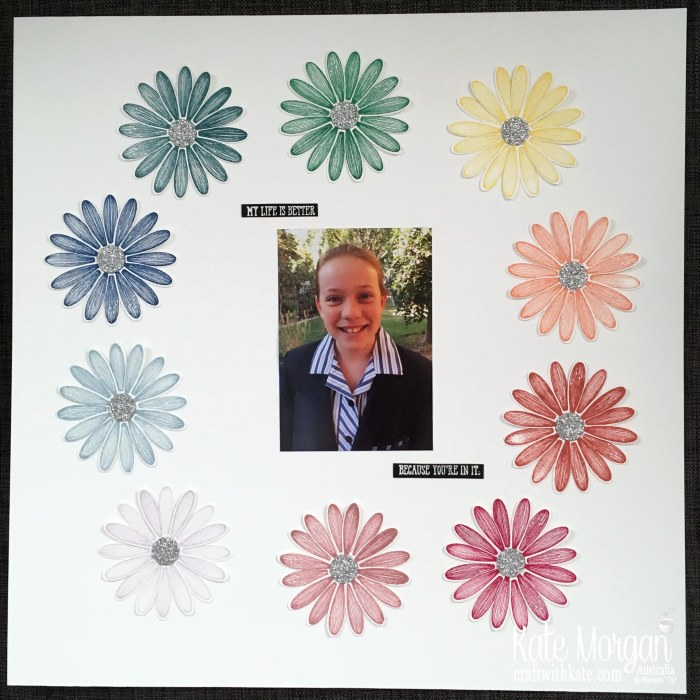 Scrapbook page using Stampin Up Daisy Lane by Kate Morgan AWHT Blog Hop In Colours 2019.JPG