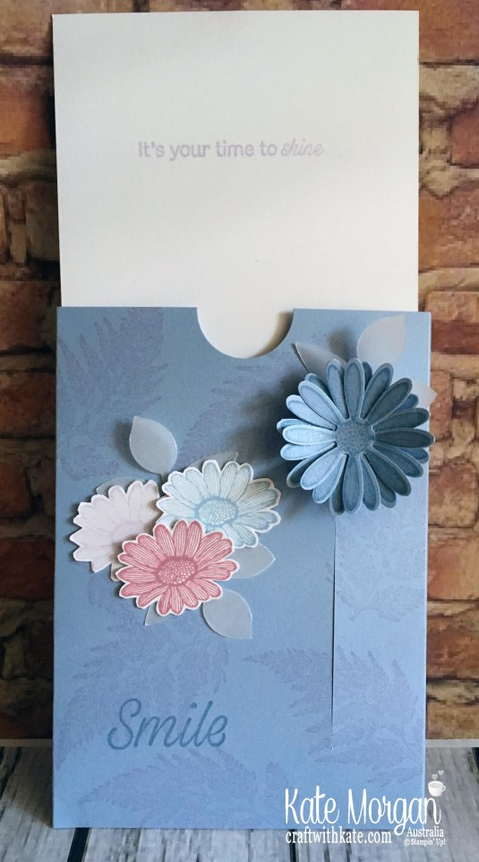 Easy Slider Card using Stampin Up Daisy Lane by Kate Morgan, Australia 2019