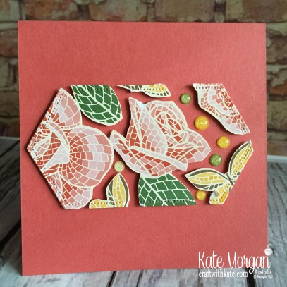 Floating Frame technique using Stampin Up Mosaic Mood DSP by Kate Morgan Australia 2019.