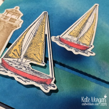 Slider card & Smooshing Technique using Stampin Up Sailing Home Bundle by Kate Morgan, Australia, 2019