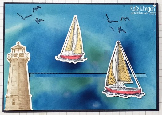 Slider card & Smooshing Technique using Stampin Up Sailing Home Bundle by Kate Morgan, Australia, 2019.