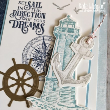 Trifold card using Stampin Up Sailing Home Bundle by Kate Morgan, Australia, 2019, Fancy Folds