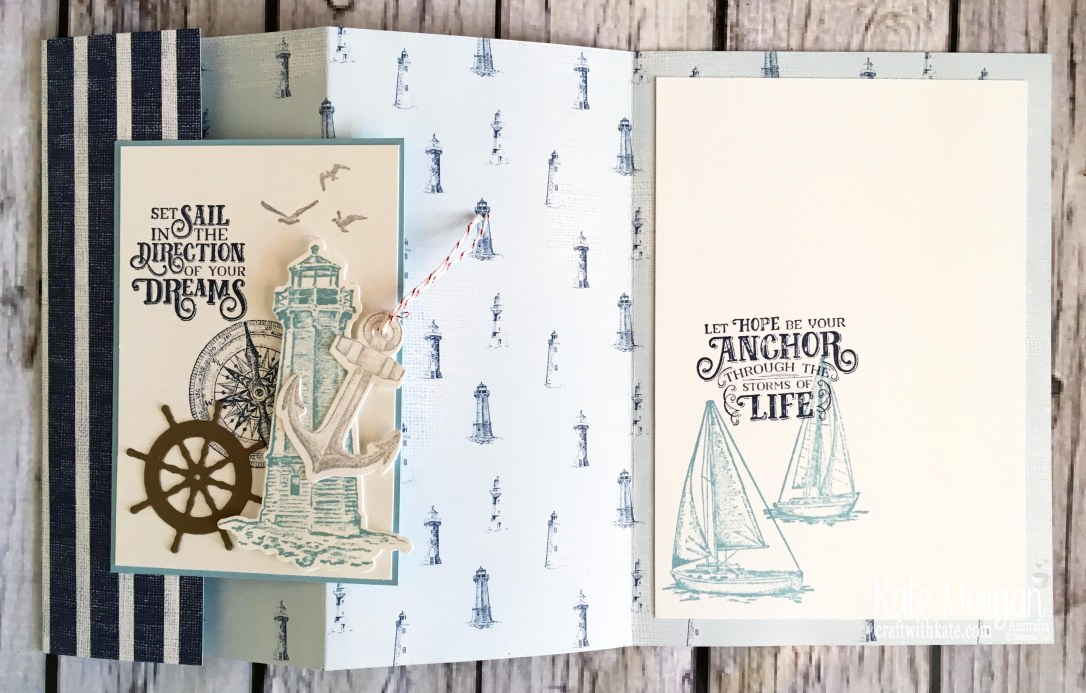 Trifold card using Stampin Up Sailing Home Bundle by Kate Morgan, Australia, 2019 Fancy Folds open