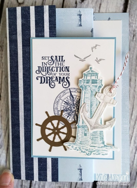Trifold card using Stampin Up Sailing Home Bundle by Kate Morgan, Australia, 2019 Fancy Folds