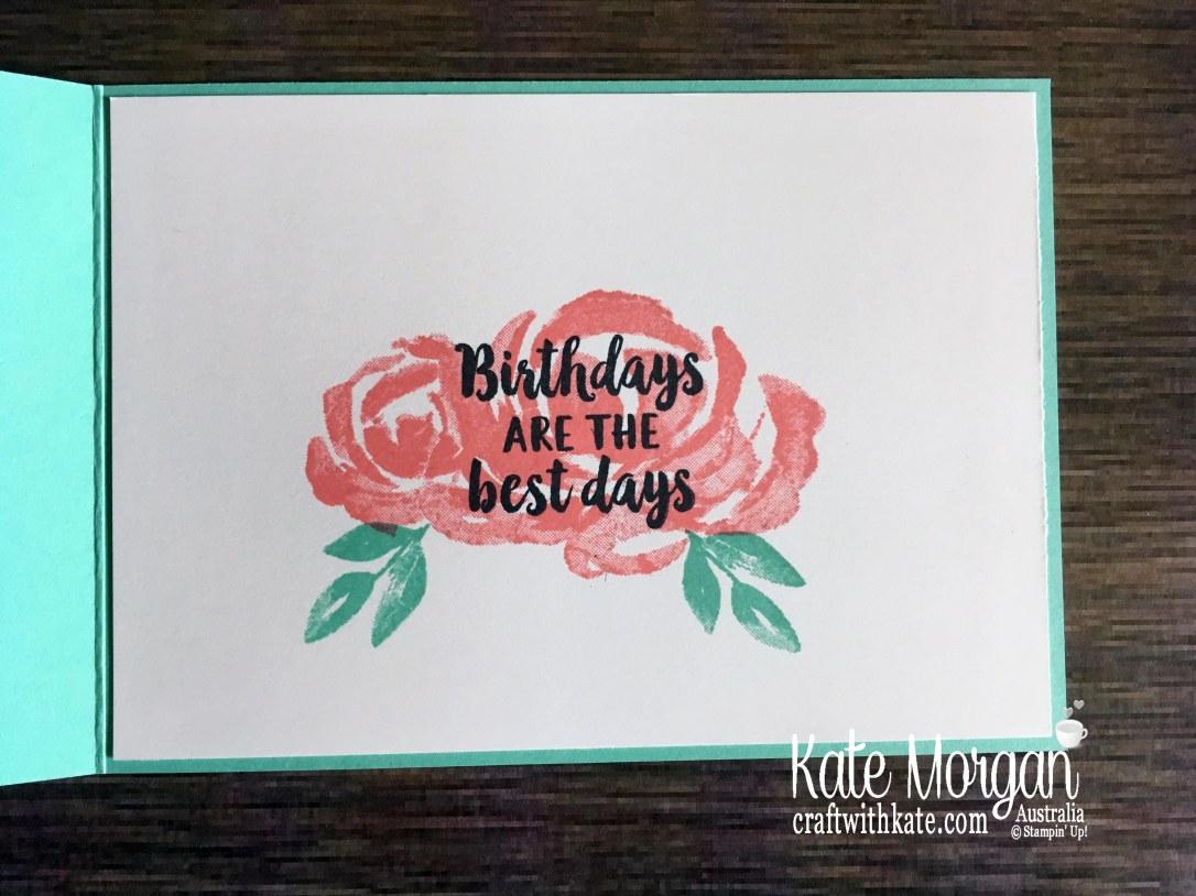 10th birthday card feminine using Stampin Up Beautiful Friendship stamp set by Kate Morgan, Australia 2019 inside