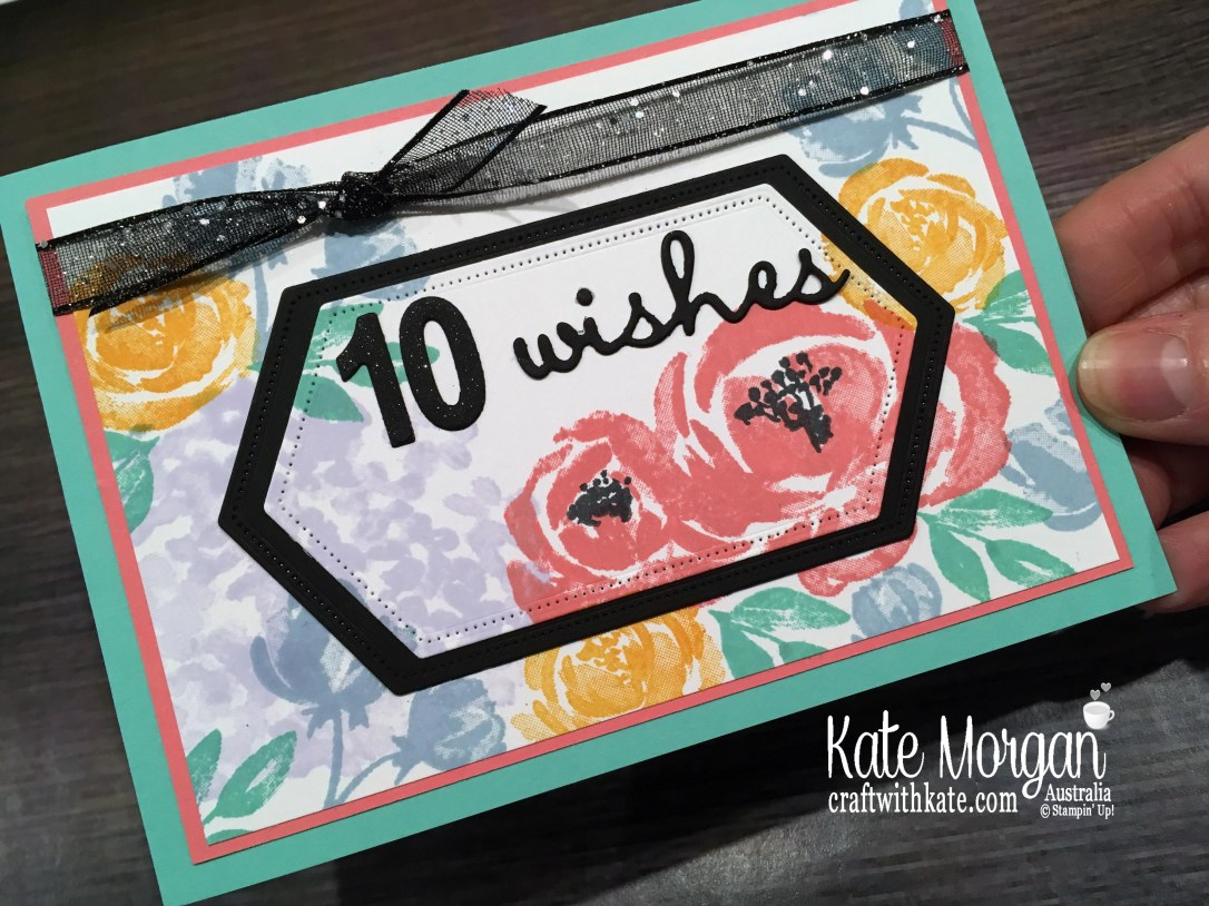 10th birthday card feminine using Stampin Up Beautiful Friendship stamp set by Kate Morgan, Australia 2019