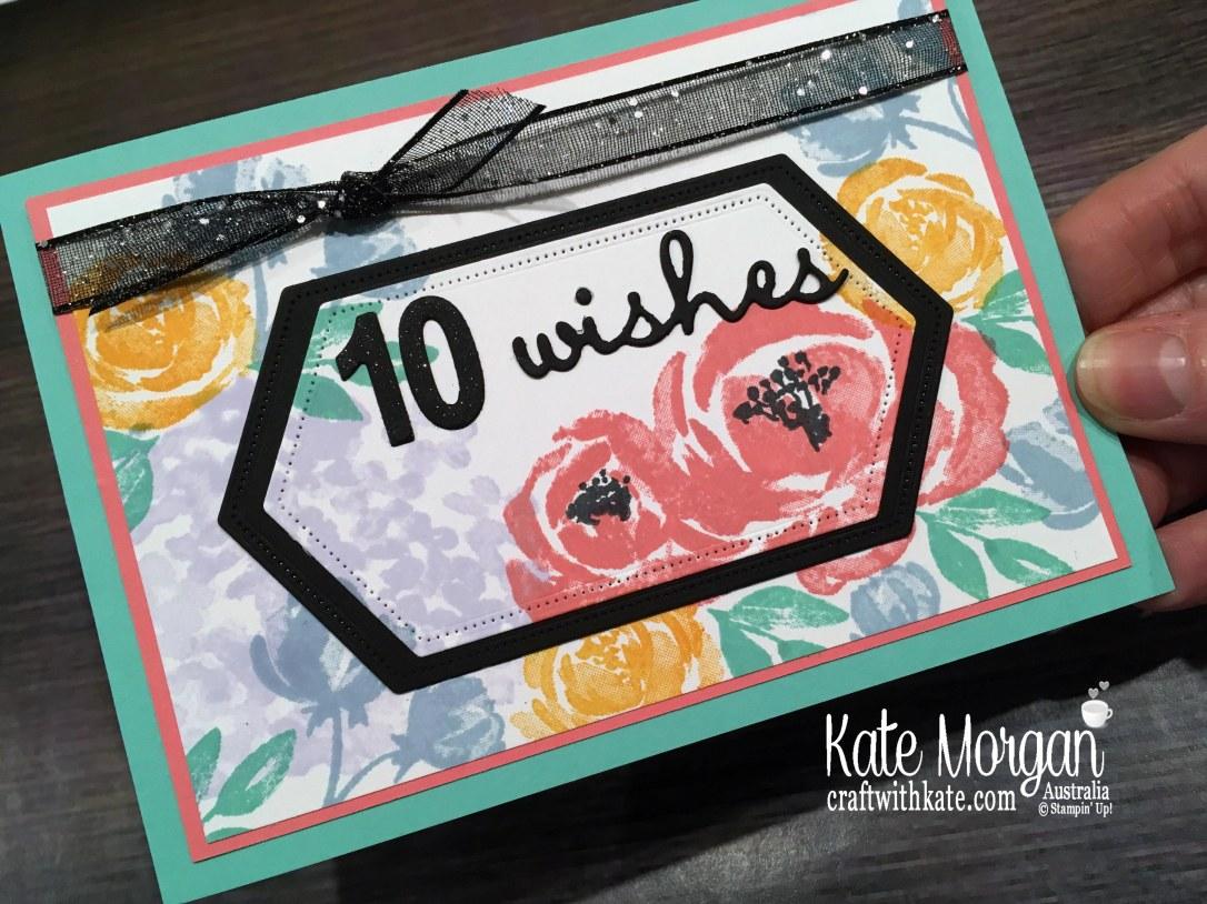 10th birthday card feminine using Stampin Up Beautiful Friendship stamp set by Kate Morgan, Australia 2019