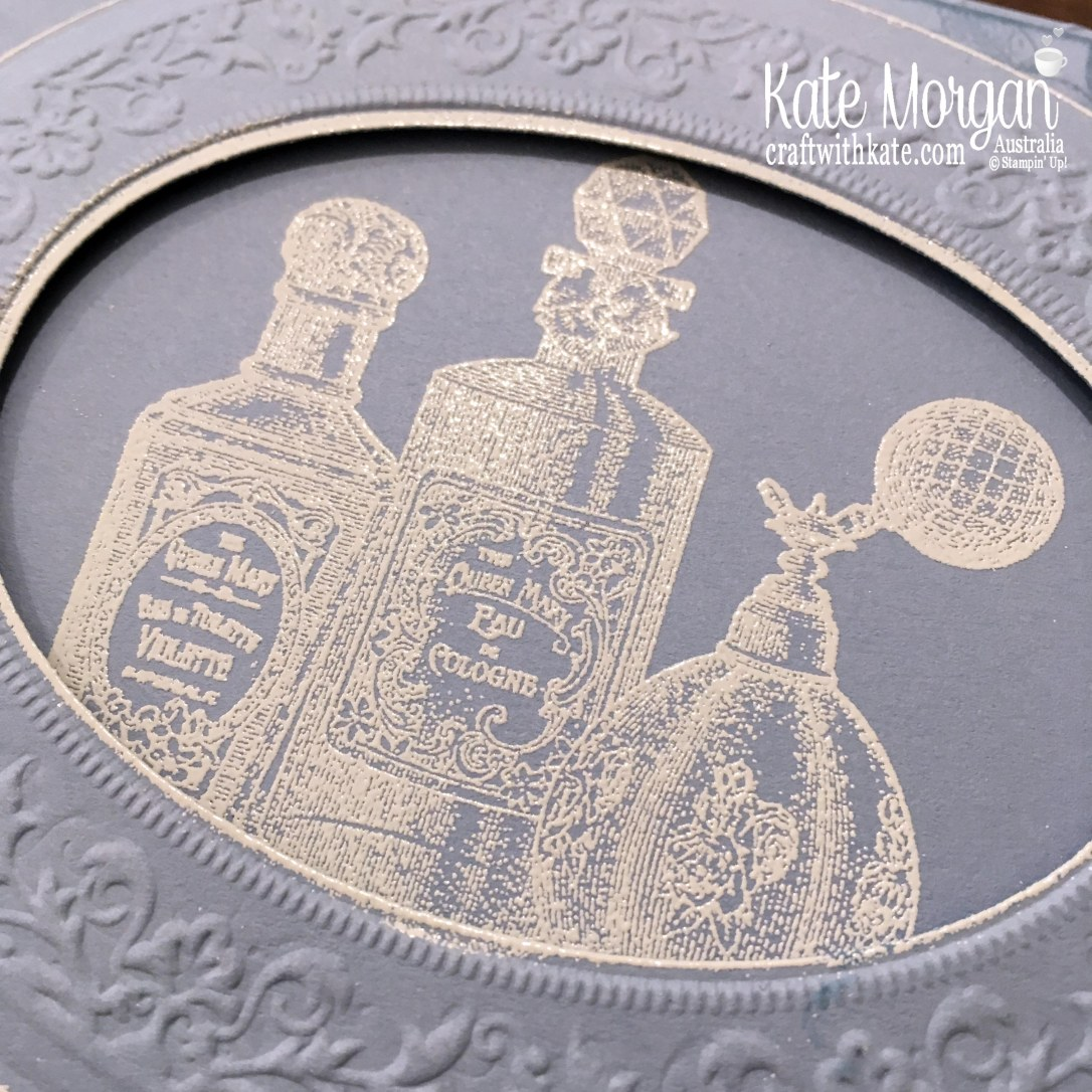 Feminine Birthday Card using Stampin Up Fanciful Fragrance & Heirloom 3D Embossing & Dies by Kate Morgan, Australia 2019.