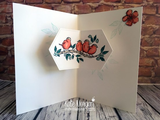 Free as a Bird Bundle using Stampin Up Bird Ballad DSP by Kate Morgan, Australia, 2019 Handmade Fancy Fold Pop up Birthday Card inside