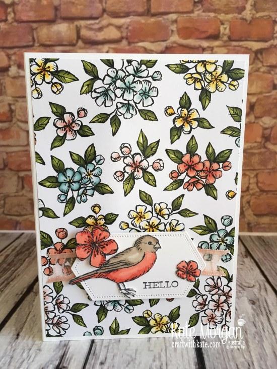 Free as a Bird Bundle using Stampin Up Bird Ballad DSP by Kate Morgan, Australia, 2019 Handmade Fancy Fold Pop up Birthday Card