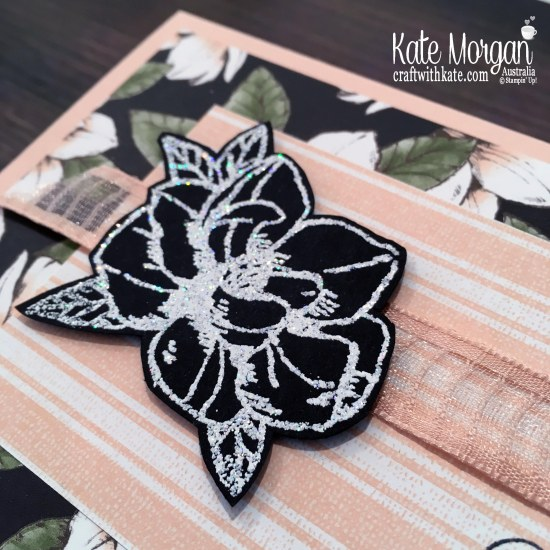 Magnolia Blooms in Shimmery White Emboss powder Stampin Up by Kate Morgan, Australia 2019.