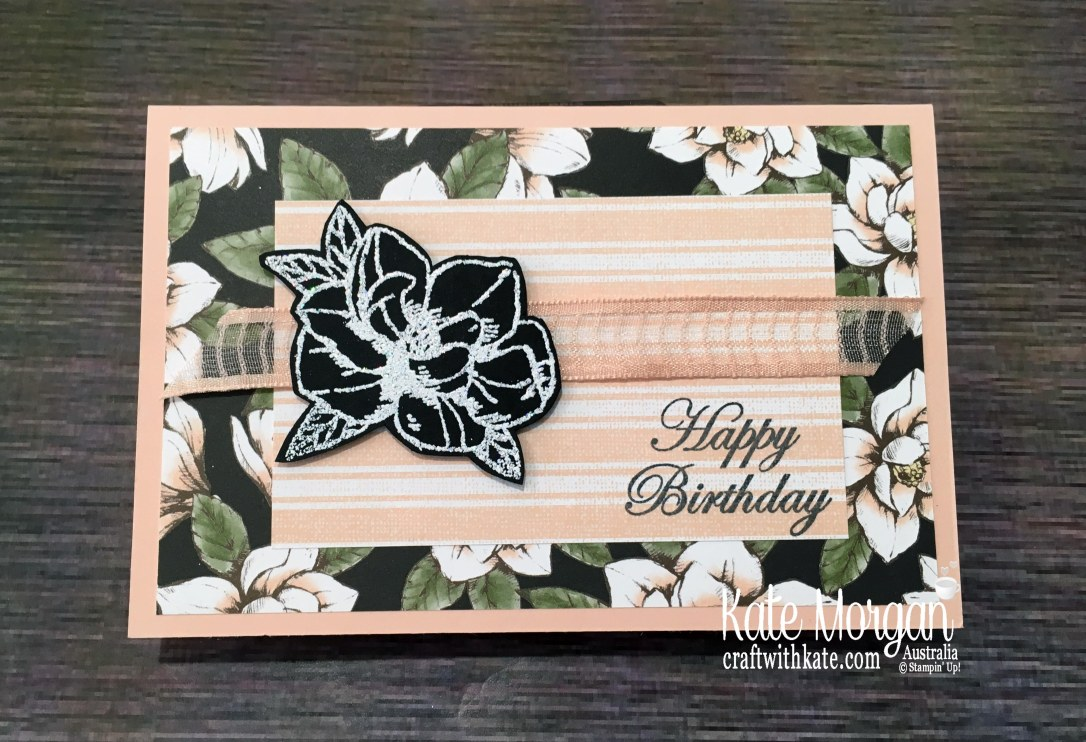 Magnolia Blooms in Shimmery White Emboss powder Stampin Up by Kate Morgan, Australia 2019