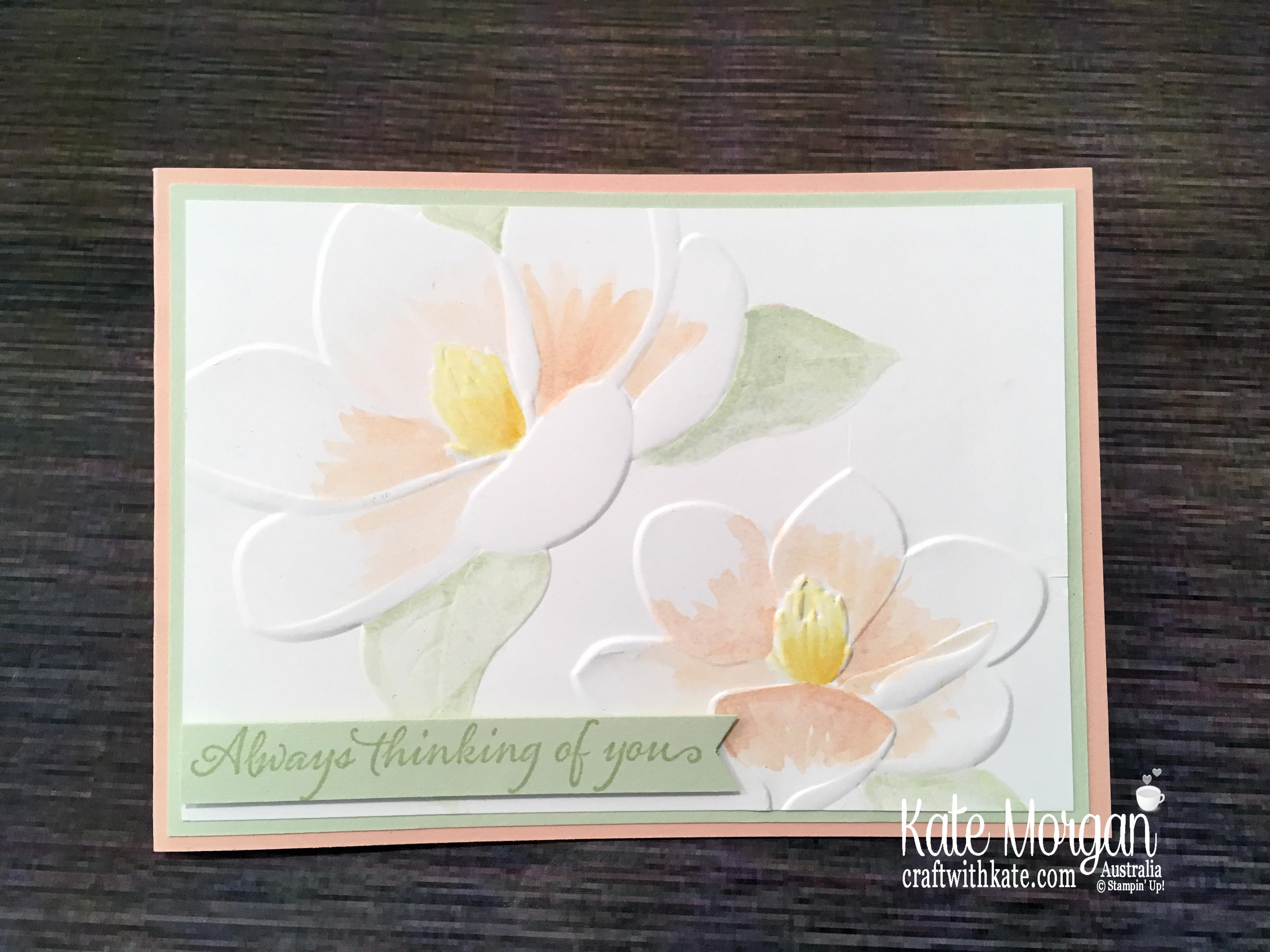 Magnolia Blooms watercolour, Stampin Up by Kate Morgan, Australia 2019