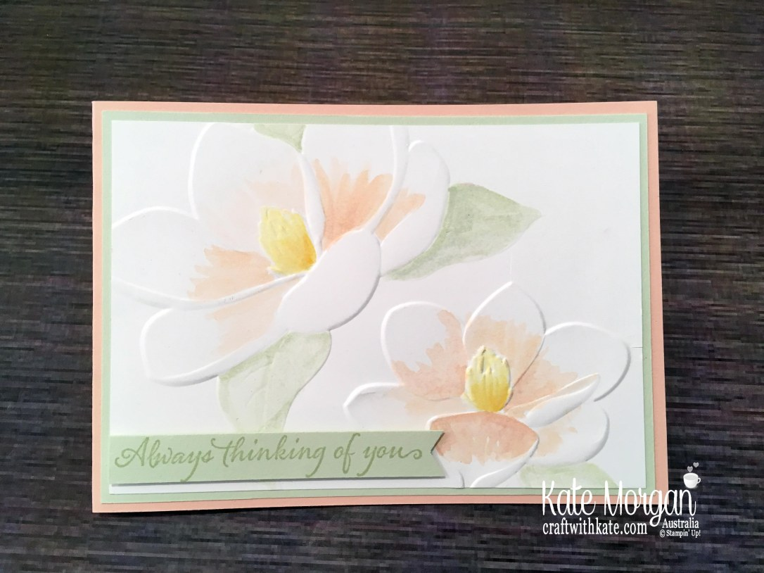Magnolia Blooms watercolour, Stampin Up by Kate Morgan, Australia 2019