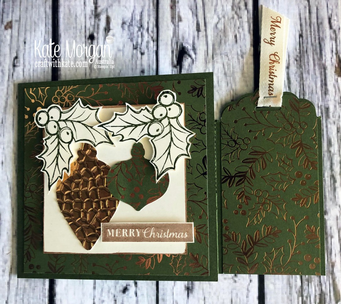 Bookmark card using Stampin Up Brightly Gleaming suite by Kate Morgan, Australia 2019 Holiday catalogue 2