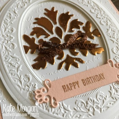 Feminine Birthday card using Stampin Up Heirloom 3D Frames & dies, Tasteful Background dies, Scripty TIEF by Kate Morgan, Australia 2019