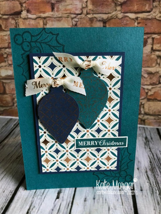 Handmade Christmas card using Stampin Up Brightly Gleaming by Kate Morgan Australia 2019..