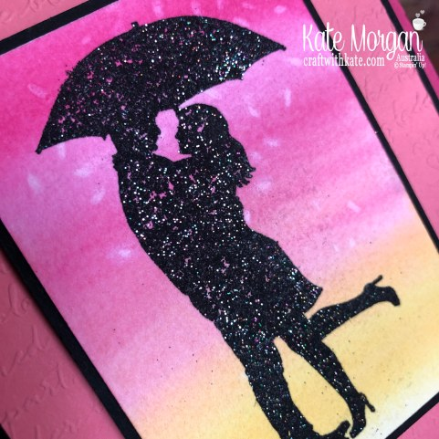 Rice or Salt Background using Stampin Up Serene Silhouettes & Shimmery Black Emboss Powder by Kate Morgan, Australia 2019.