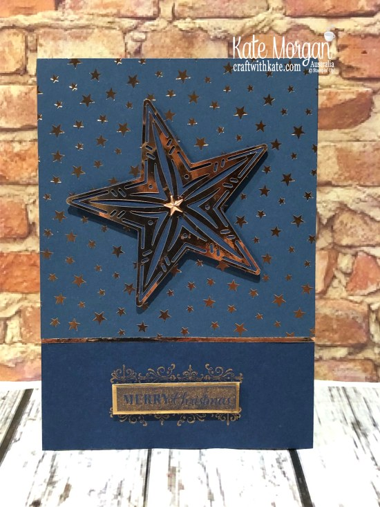 Starry Christmas card using Stampin Up Brightly Gleaming Suite & Copper Ink by Kate Morgan, Australia 2019