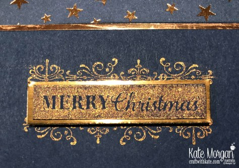 Starry Christmas card using Stampin Up Brightly Gleaming Suite & Copper Ink by Kate Morgan, Australia 2019.