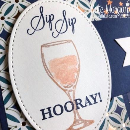 Buckle Fold Card using Stampin Up Sip Sip Hooray & Brightly Gleaming DSP 2019 Holiday catalogue by Kate Morgan Australia.