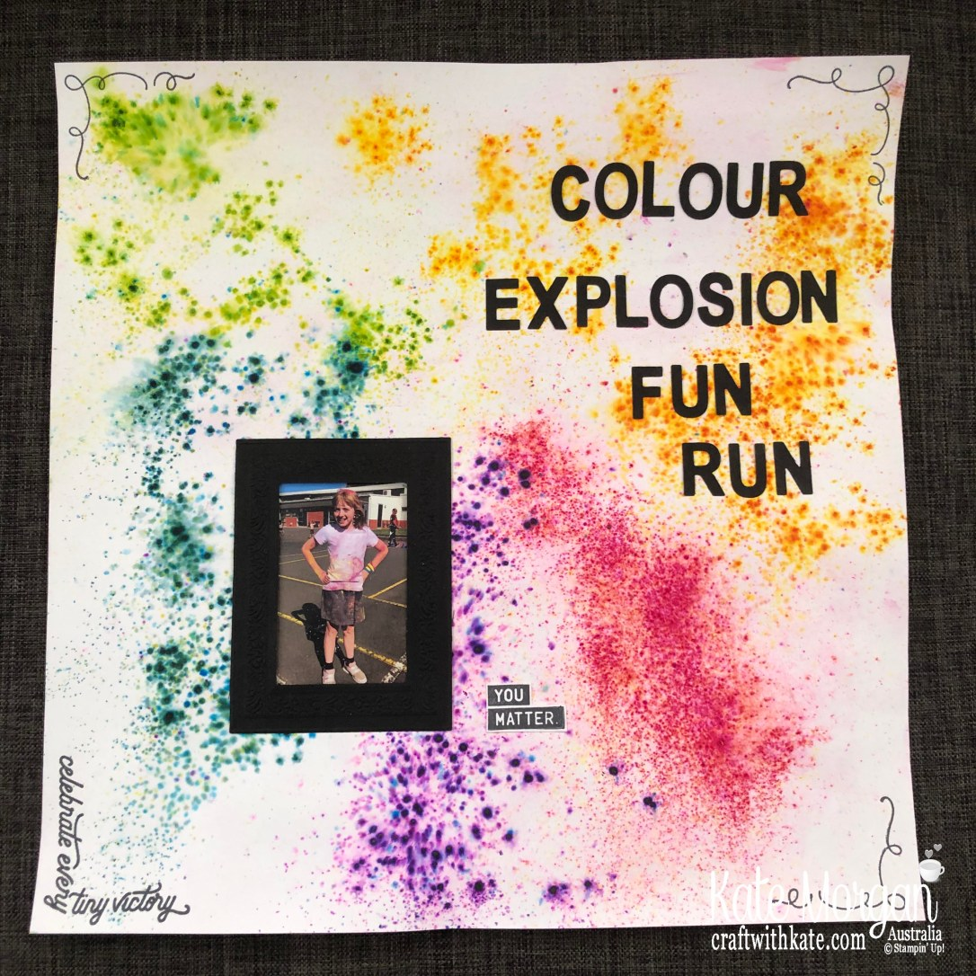 Colour Explosion Fun Run Scrapbook page by Kate Morgan, Stampin Up Australia 2019.jpg