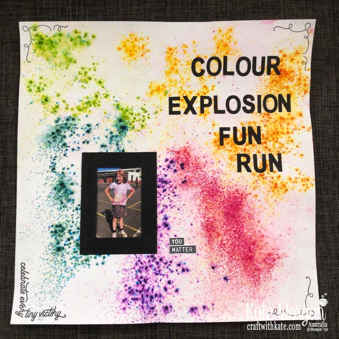 Colour Explosion Fun Run Scrapbook page by Kate Morgan, Stampin Up Australia 2019.jpg