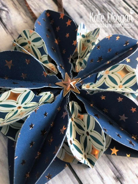 Star Ornament using Stampin Up Brightly Gleaming DSP 2019 Holiday catalogue by Kate Morgan Australia.