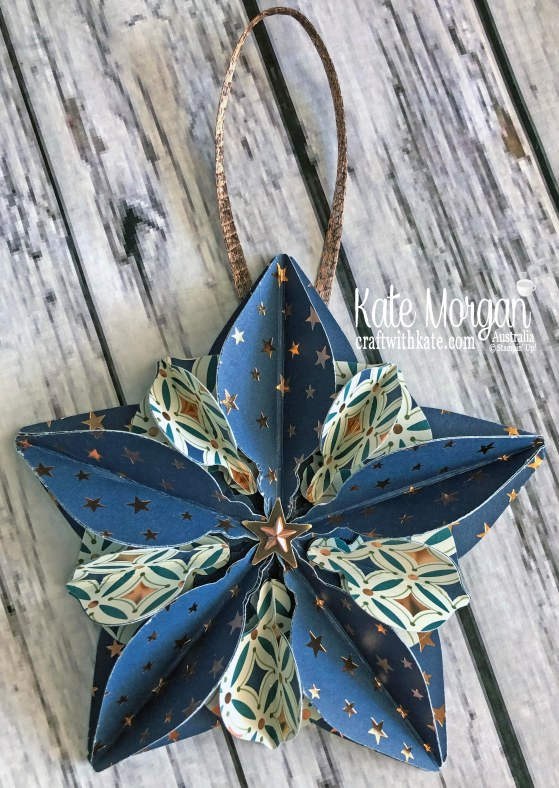 Star Ornament using Stampin Up Brightly Gleaming DSP 2019 Holiday catalogue by Kate Morgan Australia.jpg