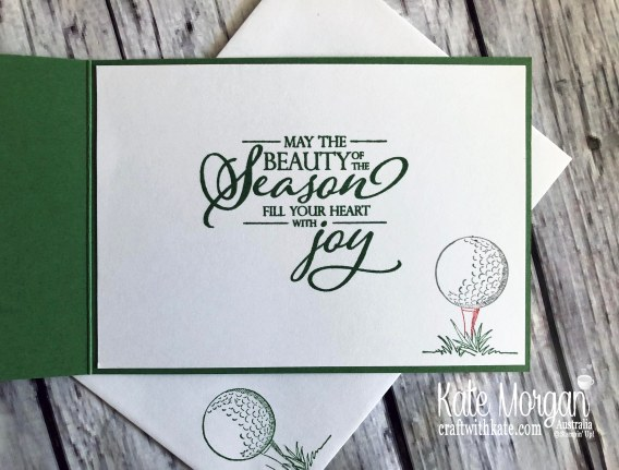 Christmas card using Stampin Up Country Club Suite Clubhouse Mini 2020 by Kate Morgan, Australia inside