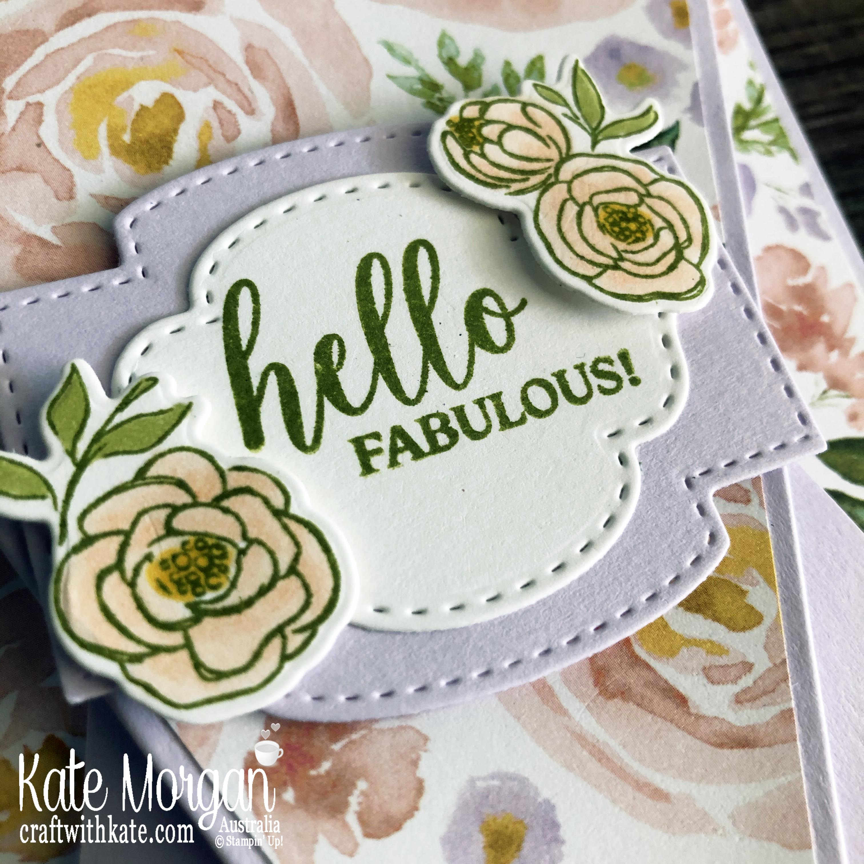 Arrow fold card using Stampin Up Best Dressed DP Mini 2020 by Kate Morgan, Australia m