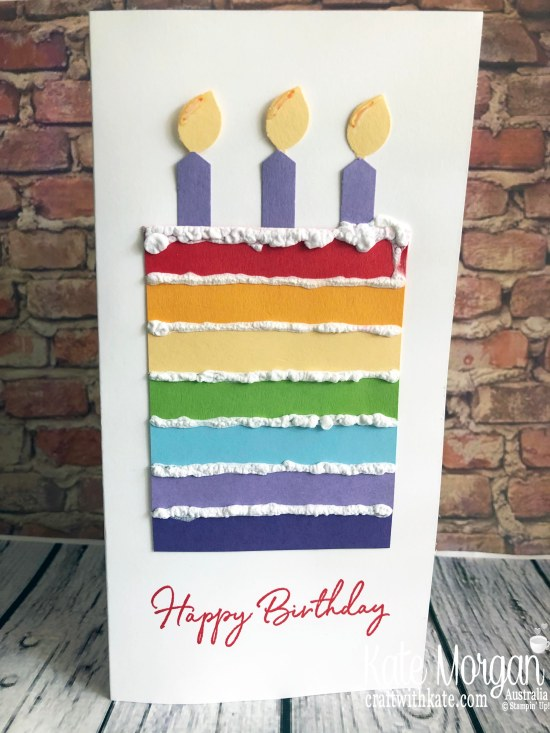 Rainbow birthday cake with Puff Paint icing by Kate Morgan, Stampin Up Australia 2019