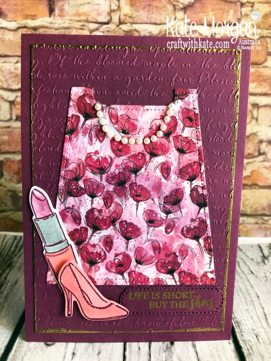 Feminine card using Best Dressed Suite & Peaceful Poppies DSP, Stampin Up 2020 Mini by Kate Morgan, Australia.