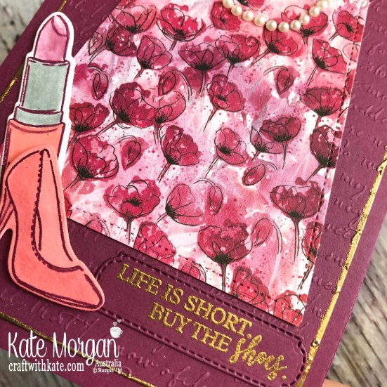 Feminine card using Best Dressed Suite and Peaceful Poppies DSP, Stampin Up 2020 Mini by Kate Morgan, Australia.s