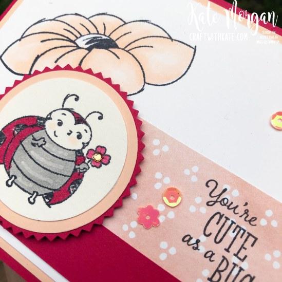 Little Ladybug Feminine card by Kate Morgan, Stampin Up Australia 2020 Saleabration
