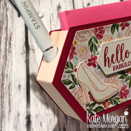 Post It Note holder with Stitched Nested Label dies using Stampin Up Best Dressed Suite 2020 Mini by Kate Morgan, Australia..