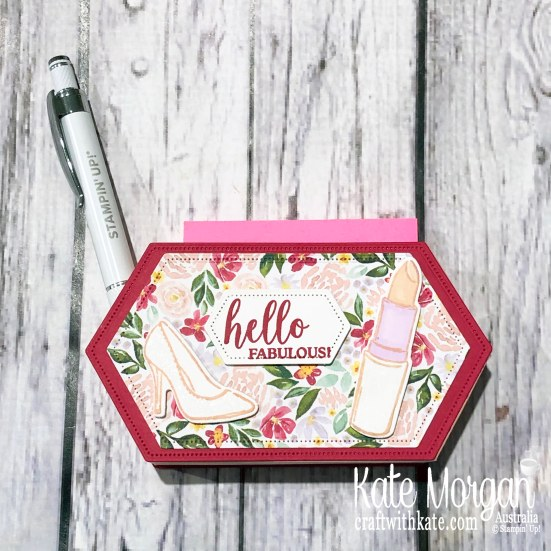 Post It Note holder with Stitched Nested Label dies using Stampin Up Best Dressed Suite 2020 Mini by Kate Morgan, Australia.