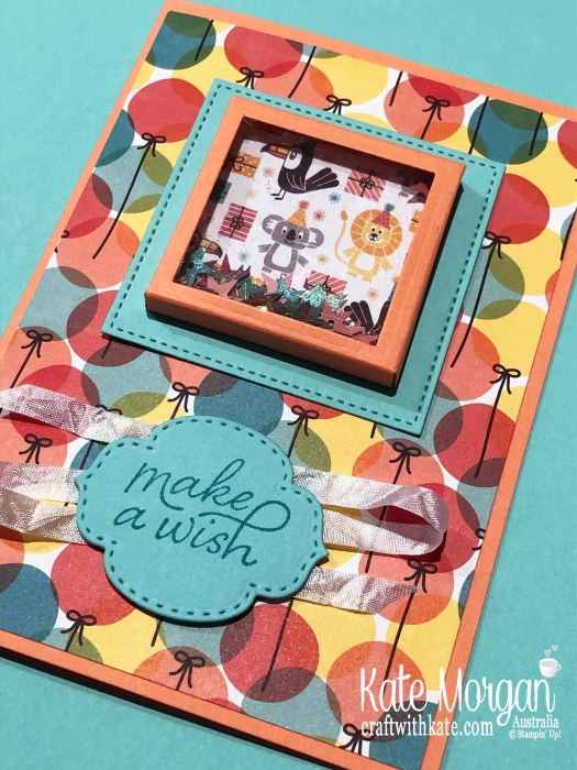 Shaker Card using Stampin Up Birthday Bonanza DSP & Birthday Goodness 2020 Mini by Kate Morgan, Australia.jpg