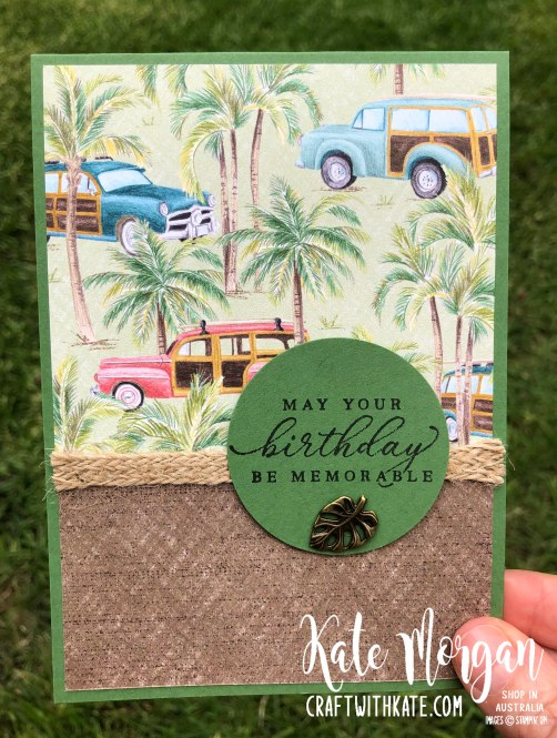 Tropical Oasis Hawaiian Cars Masculine card by Kate Morgan, Stampin Up Australia 2020