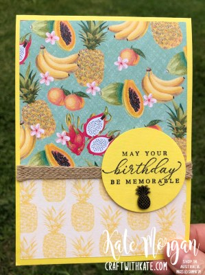 Tropical Oasis pineapple Masculine card by Kate Morgan, Stampin Up Australia 2020