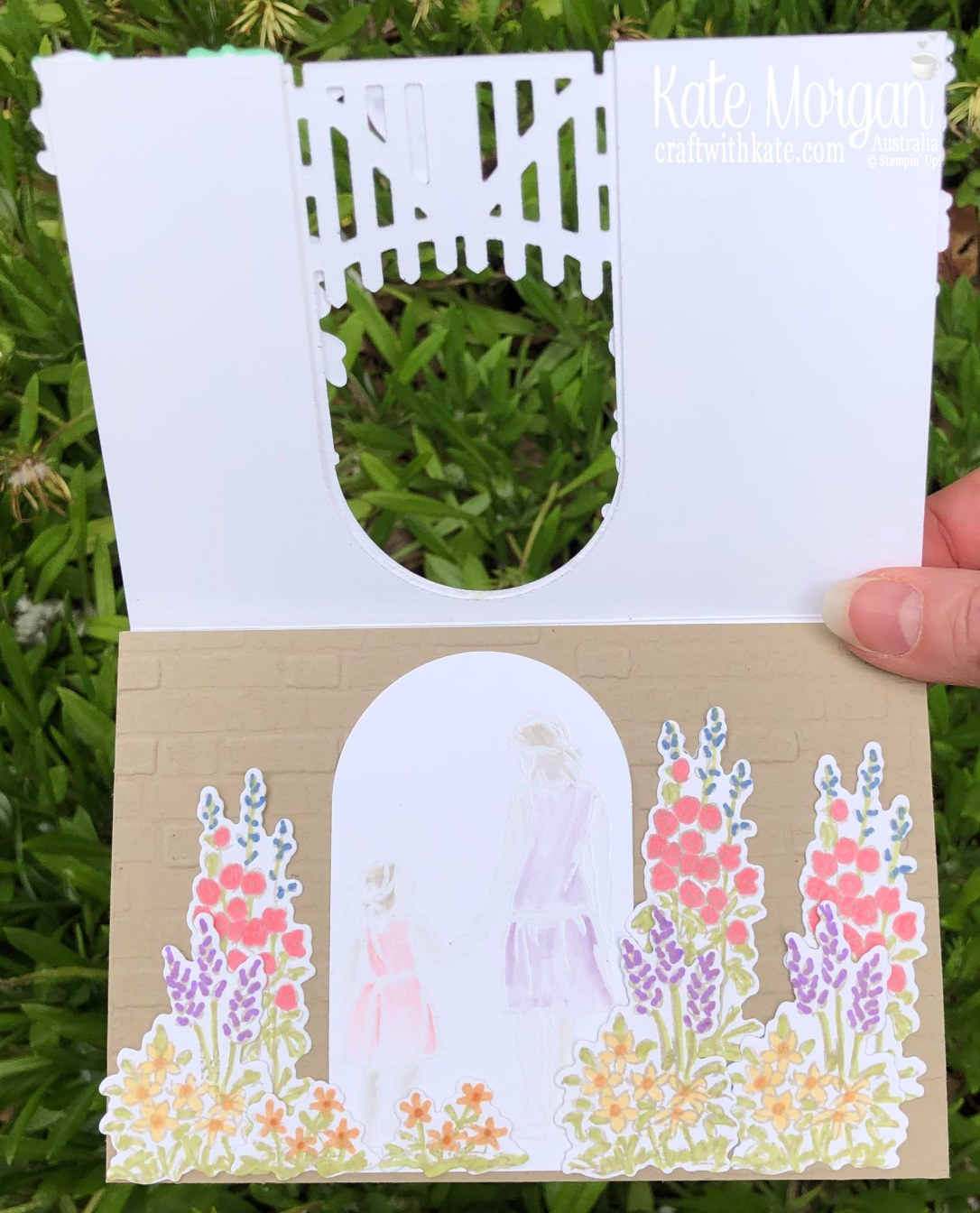 AWHT Tutorial using Stampin Up Grace's Garden & Beautiful Moments with Brick & Mortar 3D TIEF Mini 2020 by Kate Morgan, Australia inside
