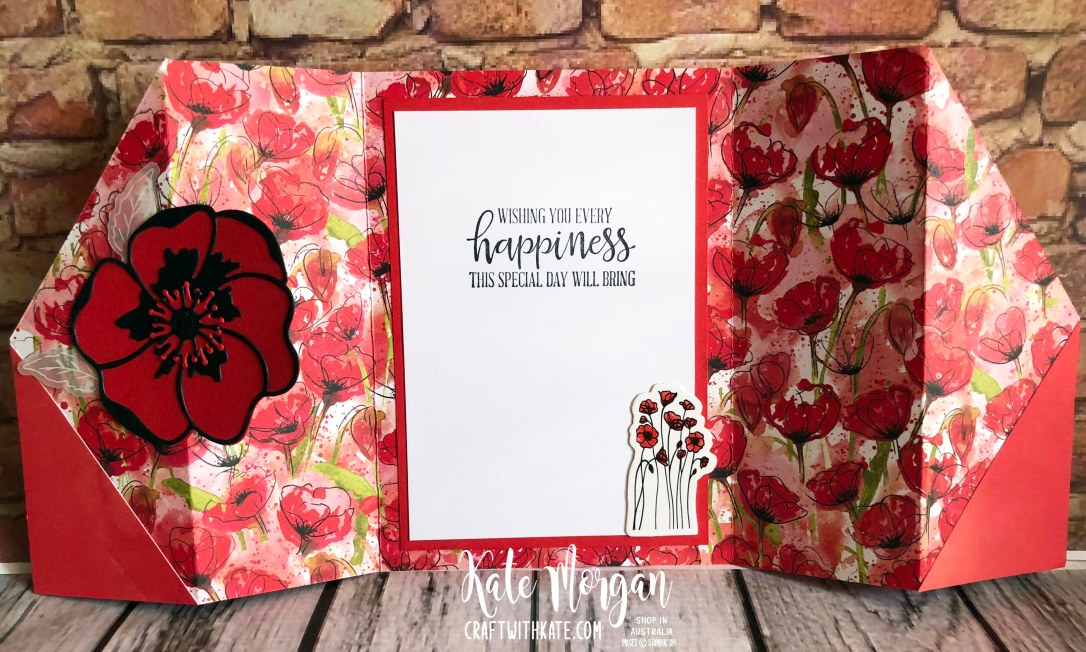 Double Gate Fold card using Peaceful Poppies Suite Stampn Up Mini 2020 by Kate Morgan Australia.