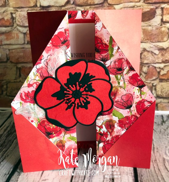 Double Gate Fold card using Peaceful Poppies Suite Stampn Up Mini 2020 by Kate Morgan Australia