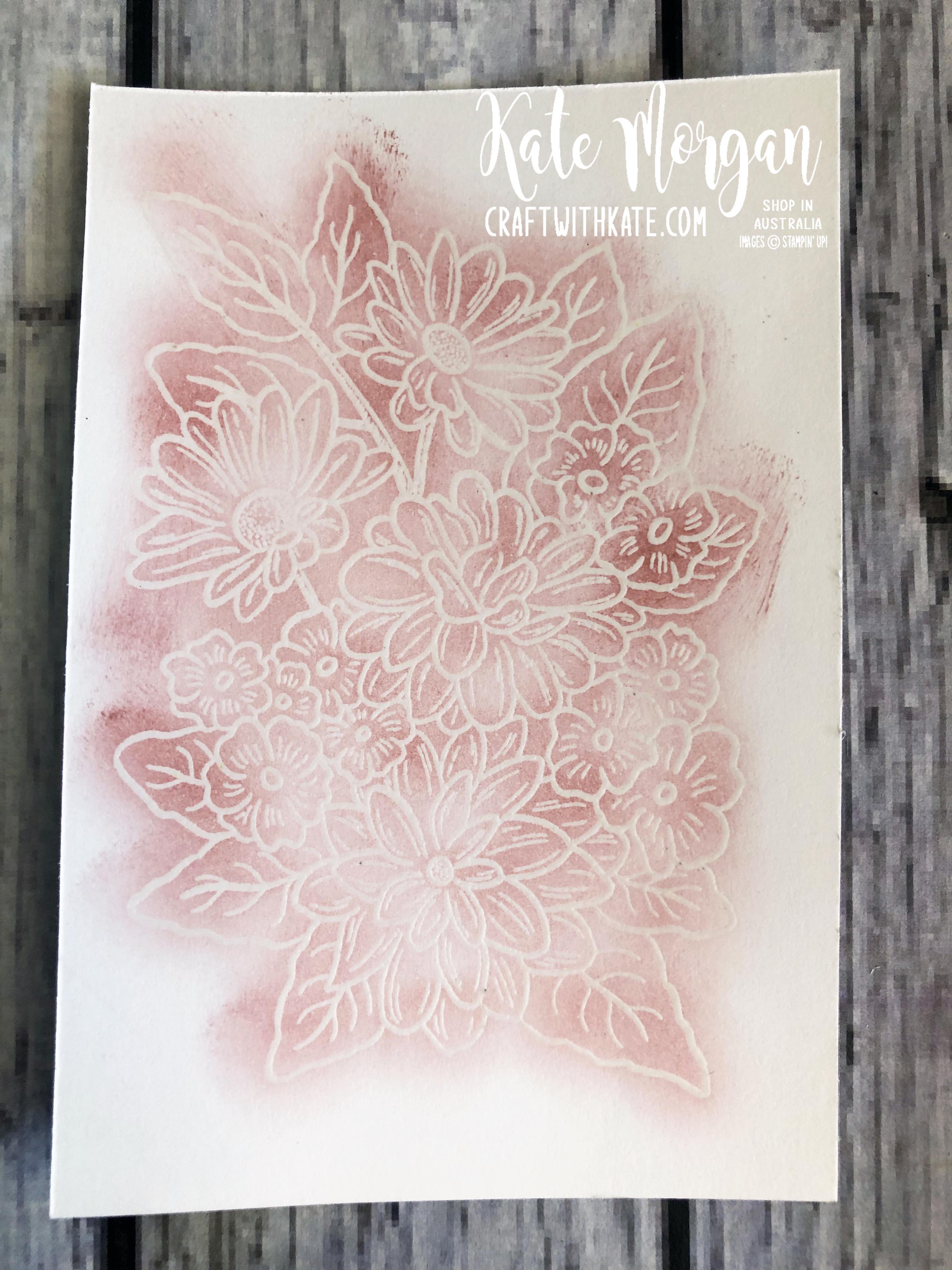 Monochrome Ornate Style Feminine card Stampin Up 2020 by Kate Morgan, Australia process