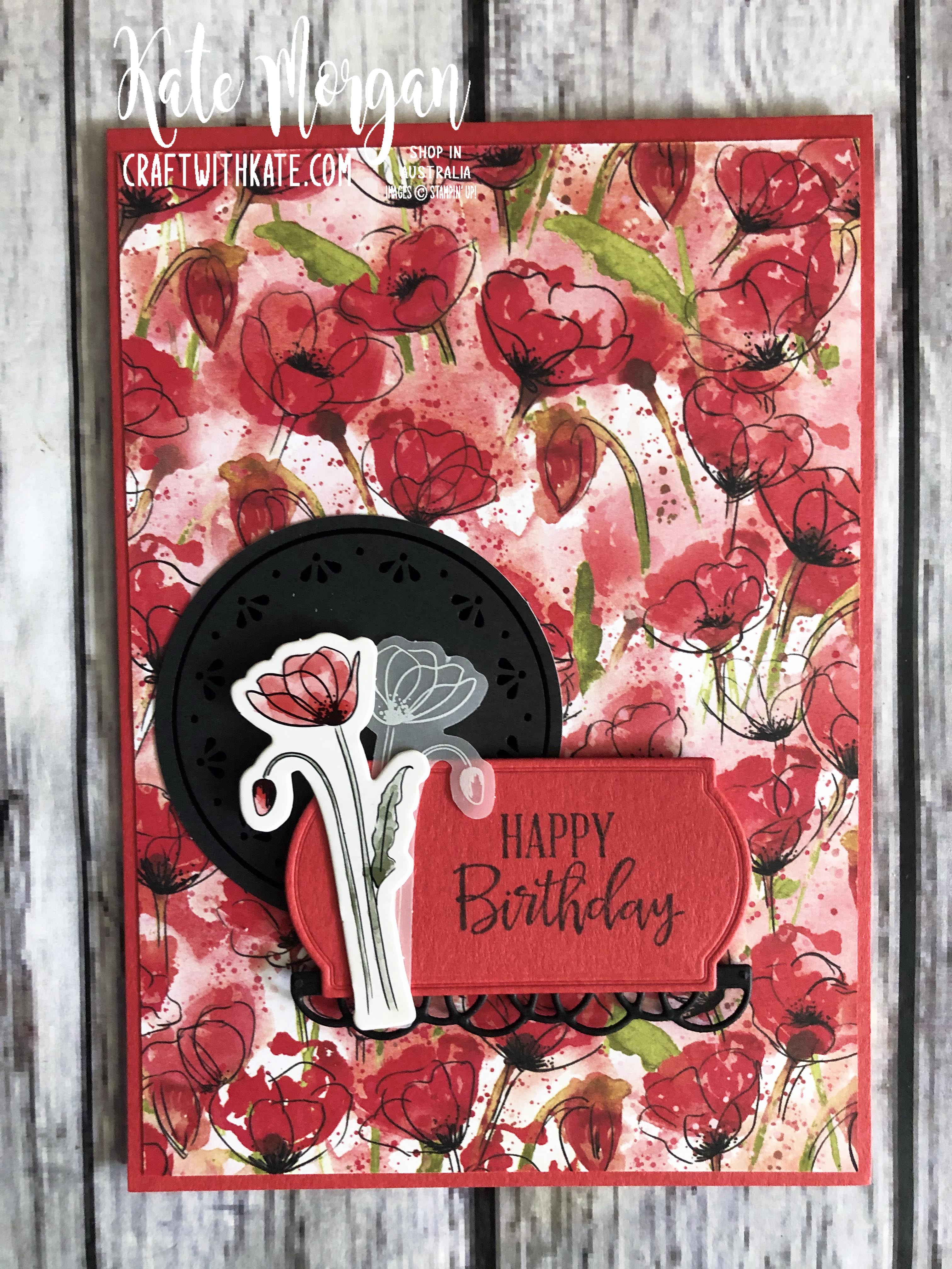 Peaceful Poppies Suite Stampin Up Mini 2020 by Kate Morgan, Australia.